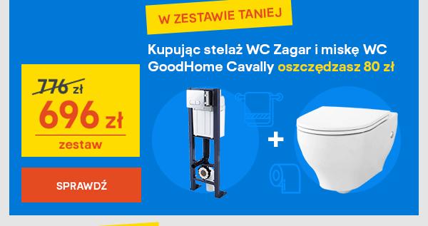 Kupujac stelaz WC Zagar i miske WC GoodHome Cavally oszczedzasz 80 zl