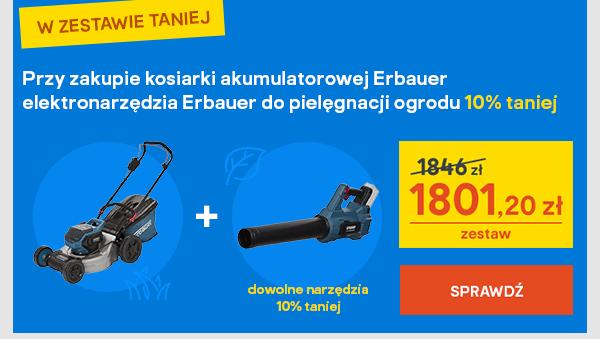 Przy zakupie kosiarki akumulatorowej Erbauer elektronarzedzia Erbauer do pielegnacji ogrodu 10% taniej