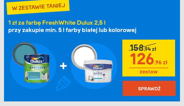 1 zl za farbe FreshWhite Dulux 2,5 l przy zakupie min. 5 l farby bialej lub kolorowej