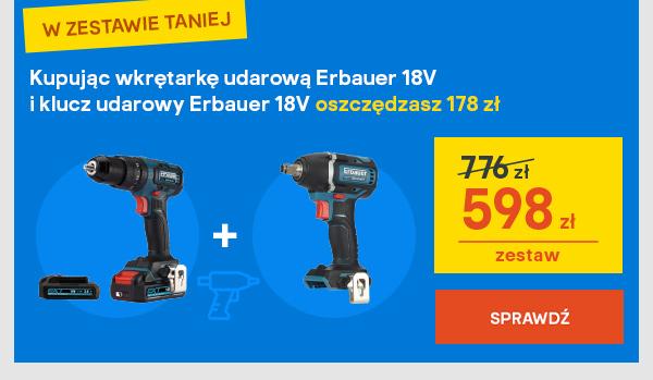 Kupujac wkretarke udarowa Erbauer 18V i klucz udarowy Erbauer 18V oszczedzasz 178 zl