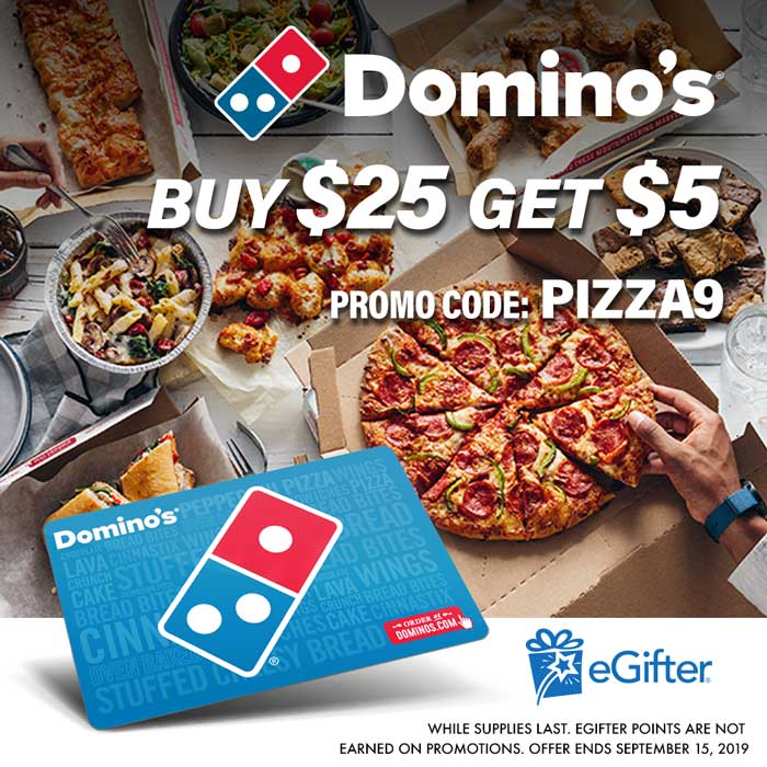 Buy a $25 Domino's Card and get a Free $5 Domino's Gift Card