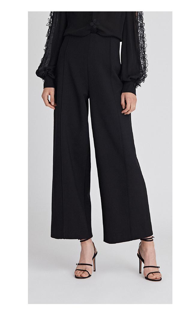 Stretch-Wool Flannel Wide-Leg Pants