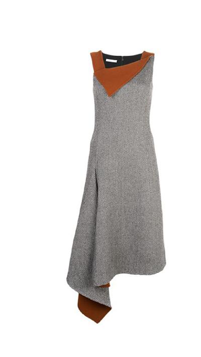 Herringbone Wool-Cashmere Asymmetric Dress