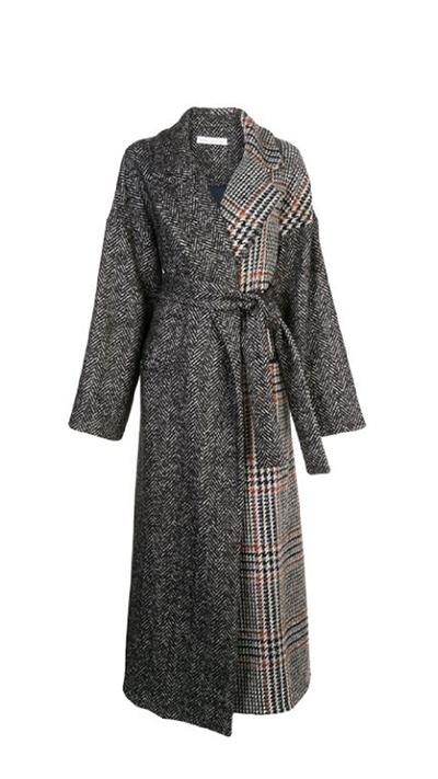 Herringbone Tweed and Houndstooth Bouclé Coat