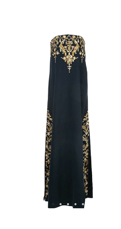 Embroidered Stretch-Wool Crepe Gown