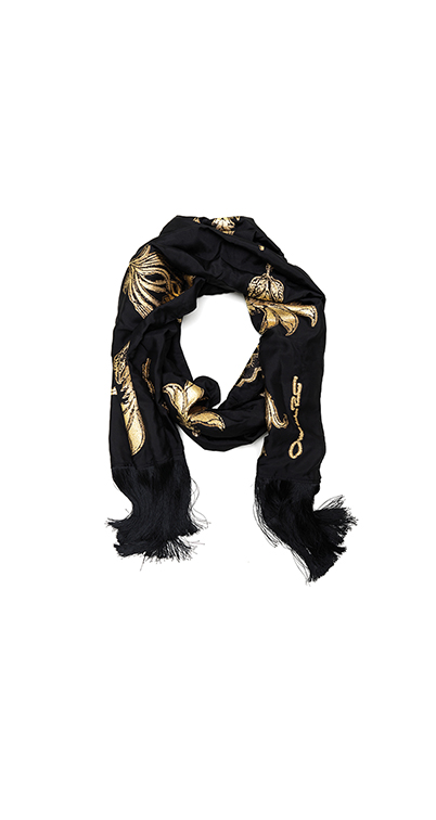 Woodblock Floral Embroidered Silk-Blend Scarf