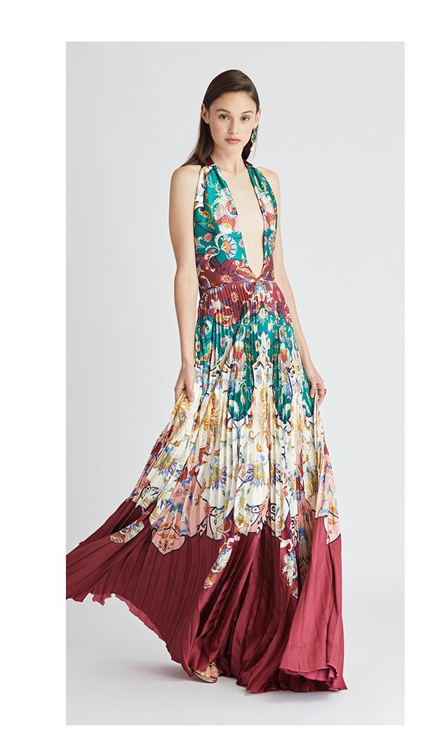 Floral Crest Soleil Plissé Twill Gown