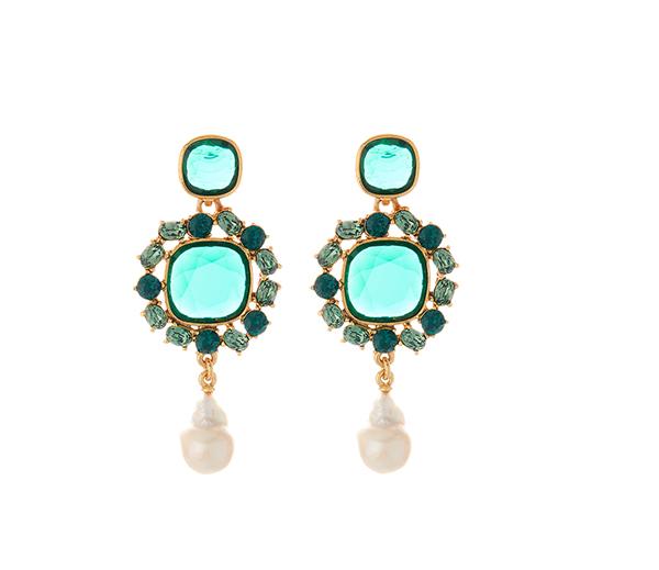 Jewel and Baroque Pearl Earrings