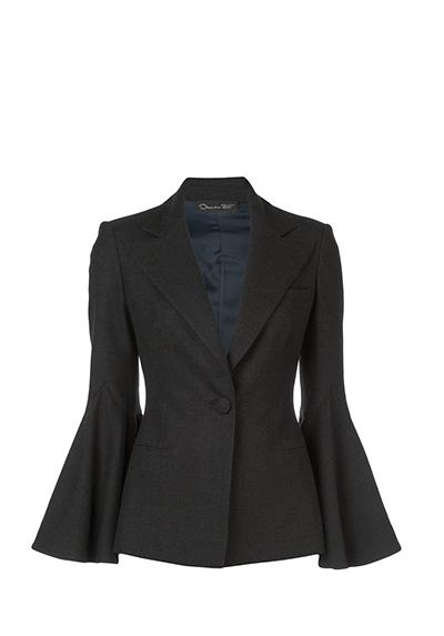 Stretch-Wool Flannel Bell-Sleeve Blazer