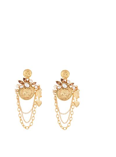 Coin Charm Chain Earrings