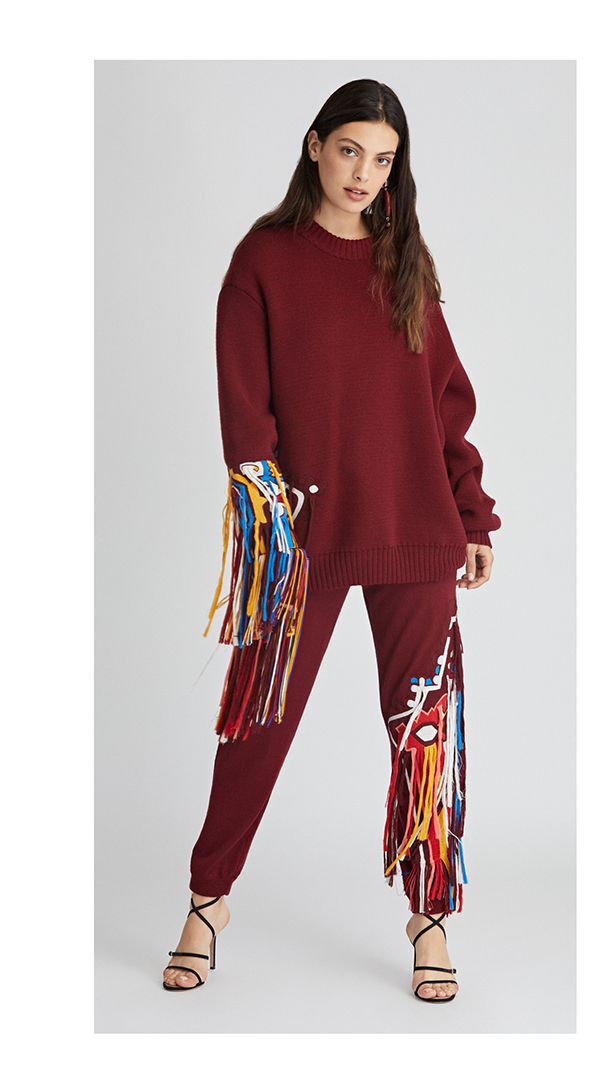 Asymmetric Embroidered Wool Pullover