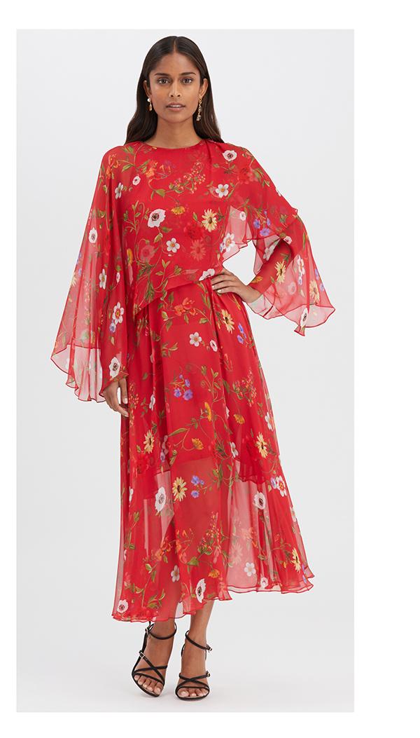 Botanical Chiffon Dress
