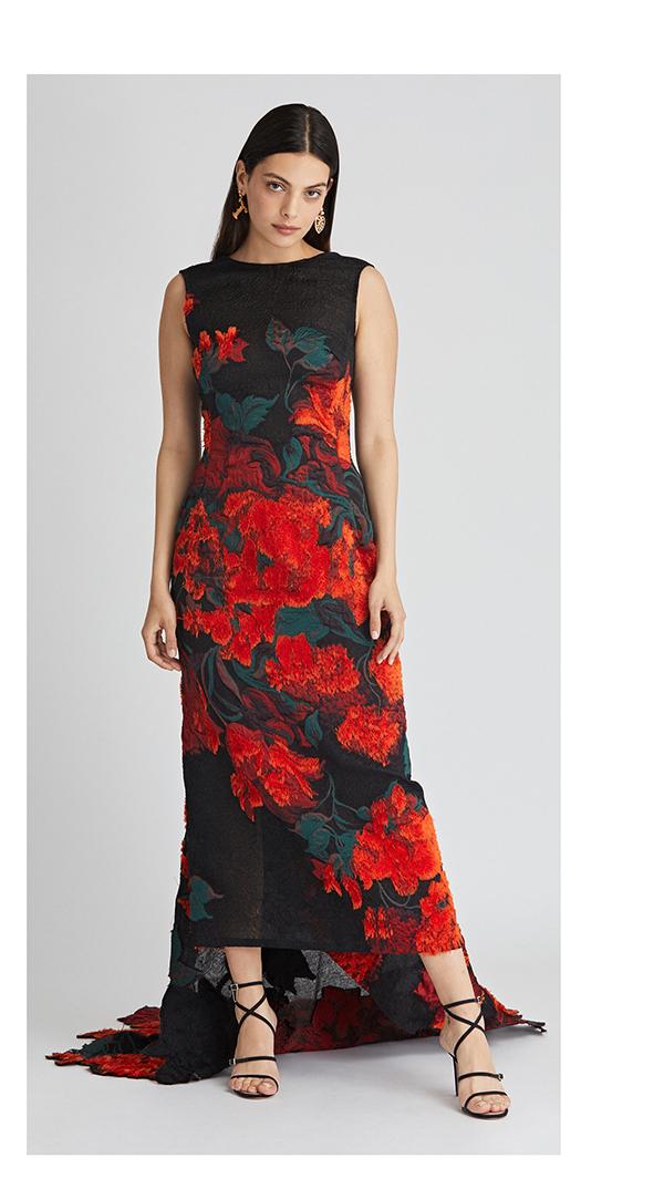 Tufted Rose Fil Coupé Gown