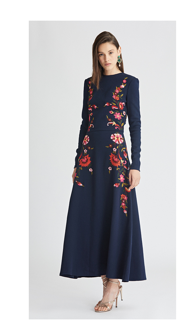 Embroidered Stretch-Wool Crepe Dress
