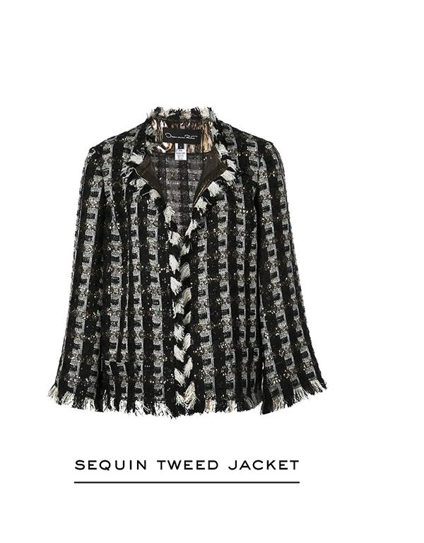 Sequin Stripes Tweed Jacket