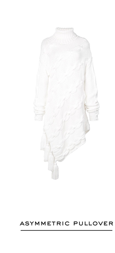 Asymmetric Wool Turtleneck Pullover