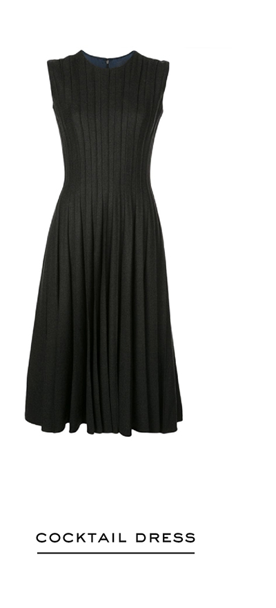 Pleated Stretch-Wool Flannel Cocktail Dress