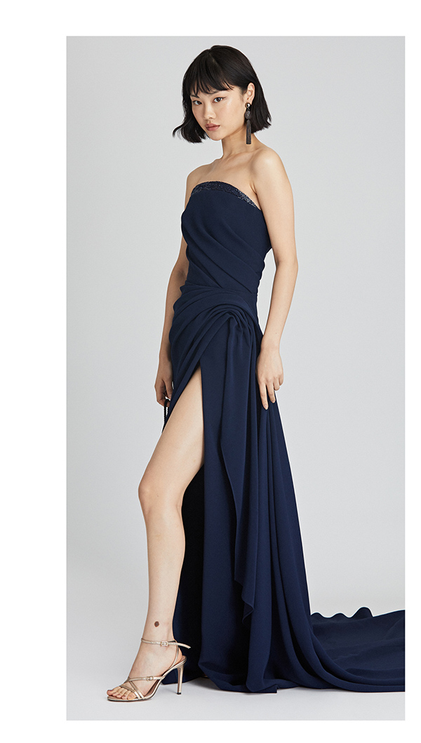 Draped Cady Pesante Gown