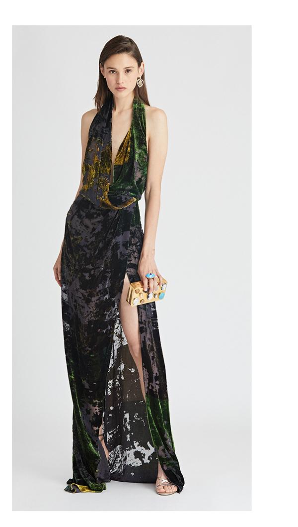 Patchwork Devoré Velvet Gown