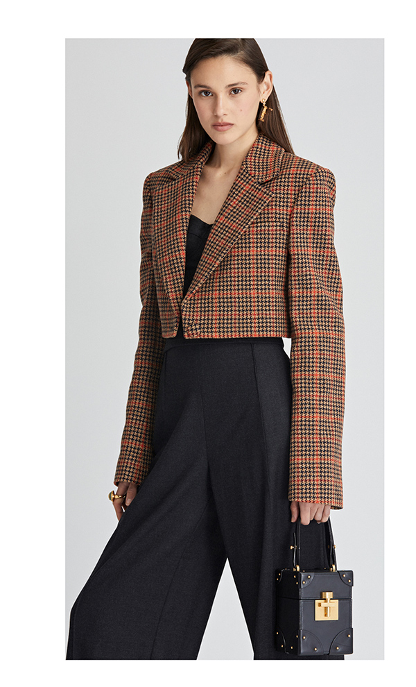 Glenplaid Wool Cropped Blazer