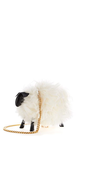 Juice the Sheep Shearling Bag in White