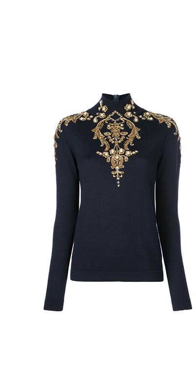 Embroidered Wool Turtleneck Pullover