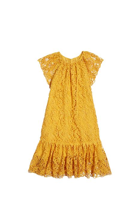 Floral Guipure Lace Drop-Waist Dress