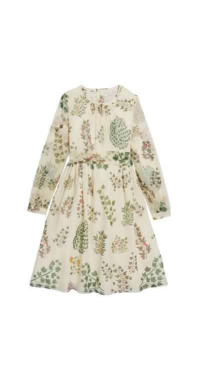 Botanical Branches Silk-Chiffon Dress