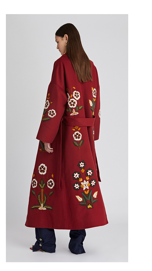 Embroidered Double Face Wool Cashmere Coat