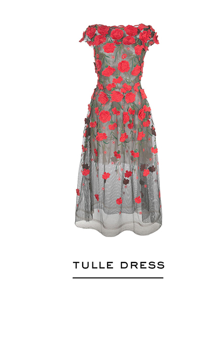 Carnation-Embroidered Tulle Cocktail Dress
