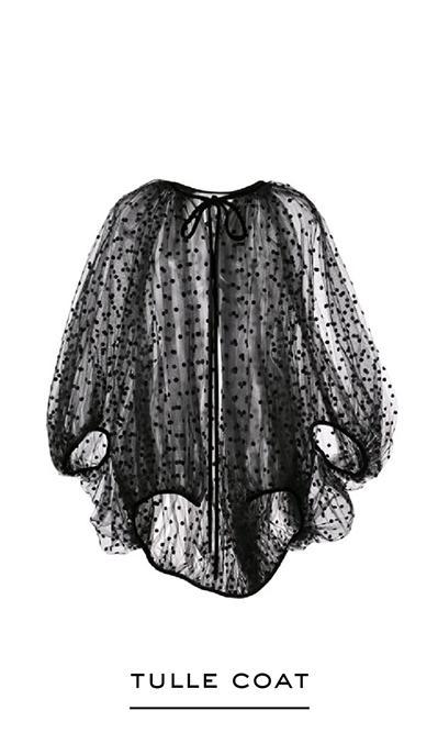 Polka Dot-Flocked Tulle Coat