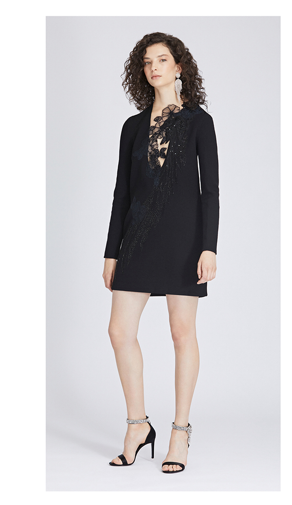 Beaded Stretch-Wool Crepe Dress
