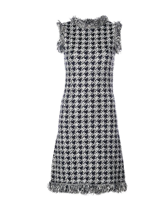 Houndstooth Wool Dress