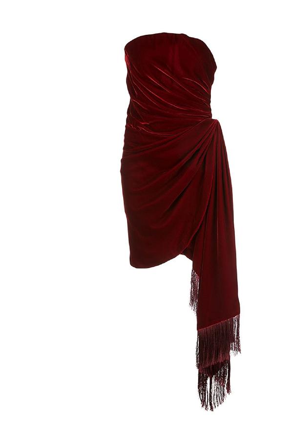 Draped Velvet Cocktail Dress