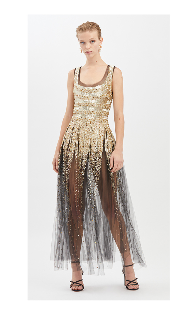 STRIPED SEQUIN-EMBROIDERED TULLE GOWN