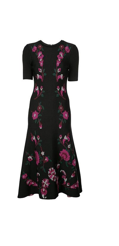 Floral Print Knit Trumpet Dress