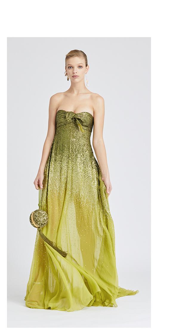 Dégradé Sequin-Embroidered Silk-Chiffon Gown