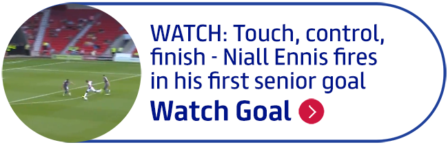 WATCH: Touch, control, finish - Niall Ennis fires in his first senior goal