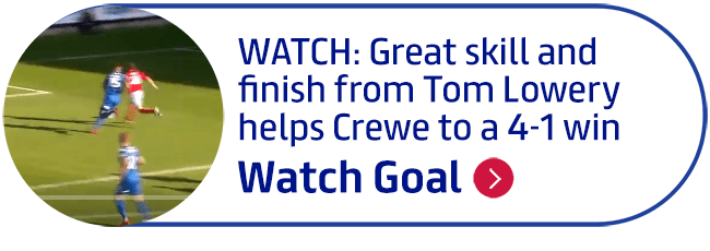 WATCH: Great skill and finish from Tom Lowery helps Crewe to a 4-1 win