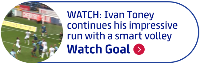 WATCH: Ivan Toney continues his impressive run with a smart volley