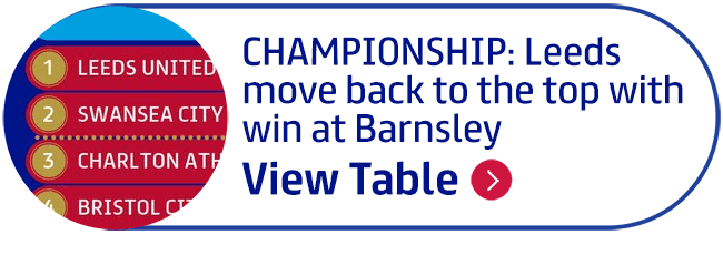 Championship: Leeds move back to the top with win at Barnsley