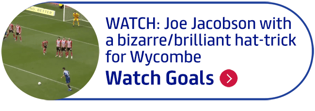 WATCH: Joe Jacobson with a bizarre/brilliant hat-trick for Wycombe