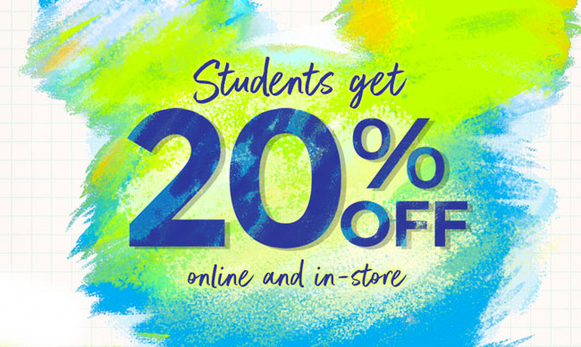 Students get 20% off online and in-store