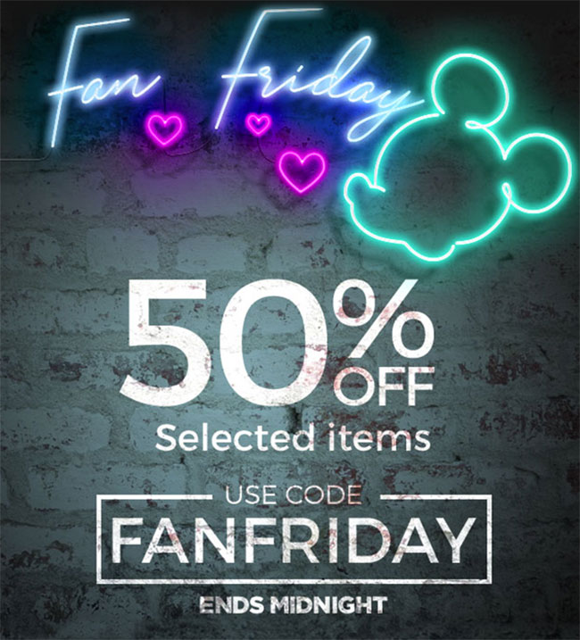 50% off selected items. Use code FANFRIDAY