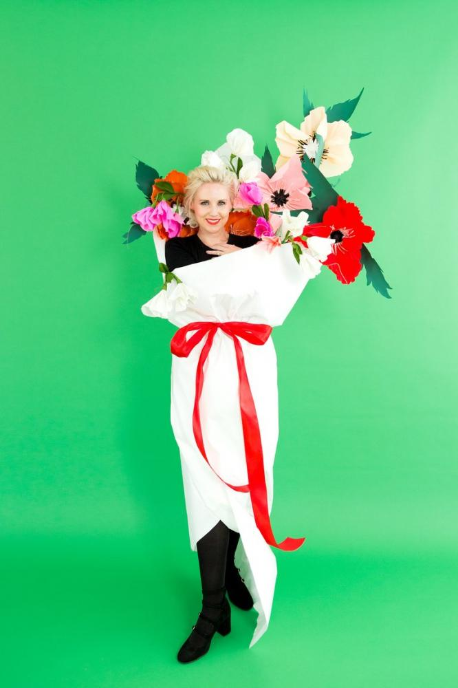 Sweet Pea Paper Flower Bouquet Costume