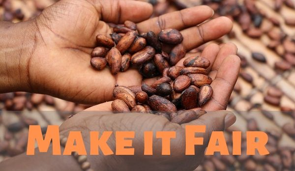 """Make it Fair"" over hands holding cacao"