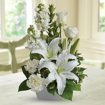 Save $8.99 Off Our White Simplicity Sympathy Arrangement