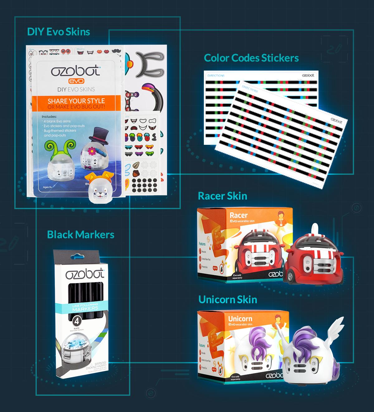 Evo Creator Pack includes DIY Evo Skins, Color Code Stickers, Black Markers, Racer Skin & Unicorn Skin