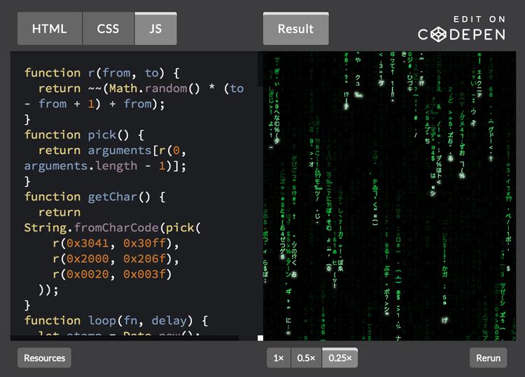 Matrix effect CodePen
