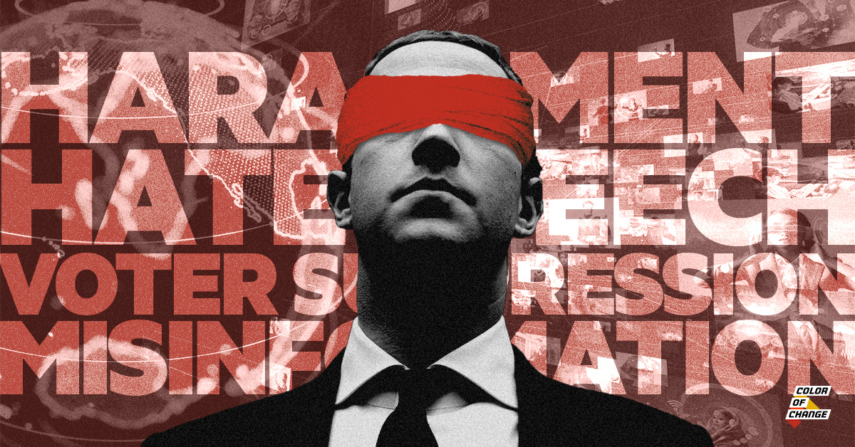 """Image with red background features Mark Zuckerberg with a blindfold over his eyes. Over the read background are words like """"voter suppression,"""" """"lies,"""" and """"misinformation"""" to demonstrate the problems on Facebook that Zuckerberg ignores."""